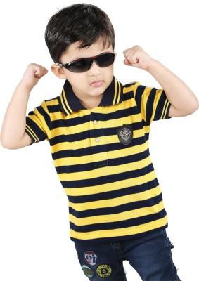 Yellow Dots Striped Baby Boy's Flap Collar Neck T-Shirt