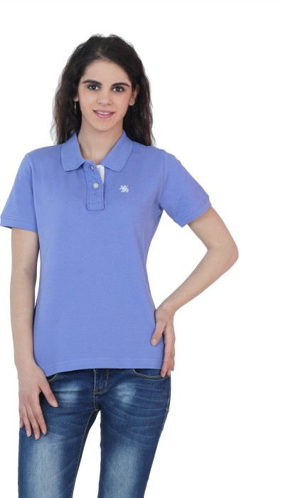 The Cotton Company Luxury Solid Women's Polo Neck T-Shirt