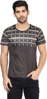 Yepme Printed Men's Scoop Neck Brown T-Shirt