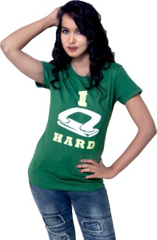 Kapdaclick.Com Green Printed Women's Round Neck T-Shirt