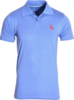 IND Classic Striped Men's Polo Neck Blue T-Shirt