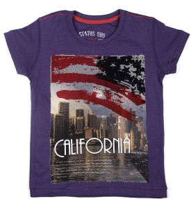 Status Quo Cubs Printed Boy's Round Neck Purple T-Shirt