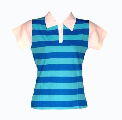 Wajbee Striped Women's Polo Neck T-Shirt
