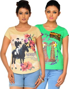 Jazzup Printed Women's Round Neck Beige, Green T-Shirt Pack Of 2
