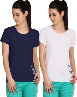 Yogaandsportswear Printed Women's Round Neck Blue, White T-Shirt Pack Of 2