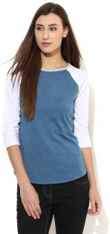 Tshirt Company Solid Women's Round Neck Blue, White T-Shirt