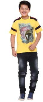 LITTLE MARCO Graphic Print Boy's Round Neck Yellow T-Shirt