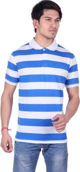 Austin Wood Striped Men's Polo Neck Blue, White T-Shirt