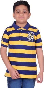 SEABOARD Striped Boy's Polo Neck Blue, Yellow T-Shirt