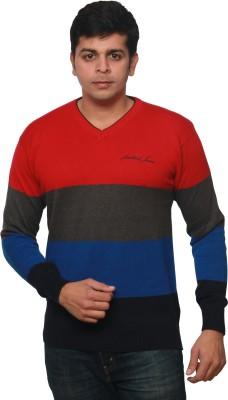 Amstead Striped, Solid Men's V-neck T-Shirt