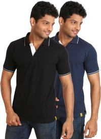 Campus Sutra Solid Men's Polo T-Shirt Pack of 2