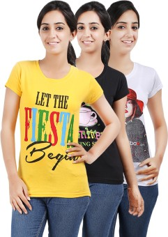 Be Style MSH-OS-106-Multi Printed Women's Round Neck T-Shirt Pack Of 3