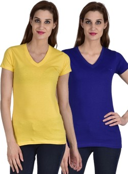 Youthen Solid Women's V-neck Blue, Yellow T-Shirt Pack Of 2
