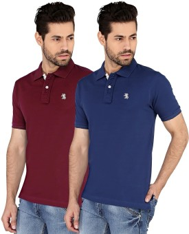 The Cotton Company Solid Men's Polo Neck Blue, Maroon T-Shirt Pack Of 2