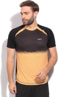 Fila Printed Men's Round Neck Black, Yellow T-Shirt
