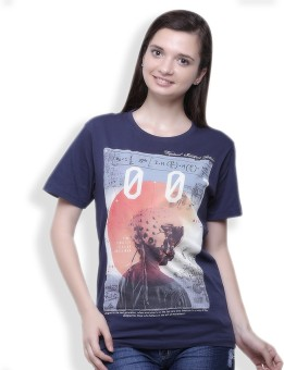 Go India Store Printed Women's Round Neck Blue T-Shirt