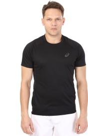 Asics Solid Men's Round Neck Black T-Shirt