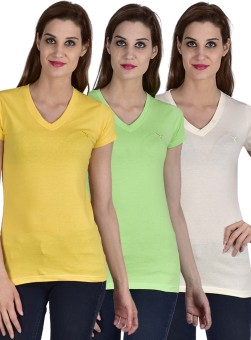 YouthenX Solid Women's V-neck White, Green, Yellow T-Shirt Pack Of 3