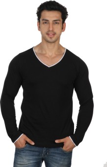 Rigo Black Slim Fit White Piping Solid Men's V-neck T-Shirt