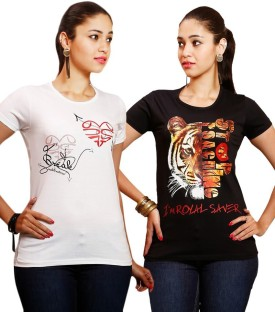 Yaari Printed Women's Round Neck White, Black T-Shirt Pack Of 2