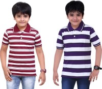 Dongli Striped Baby Boy's Polo Neck Maroon, Purple T-Shirt (Pack Of 2)