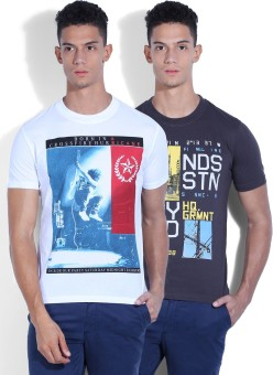 Fort Collins Printed Men's Round Neck White, Grey T-Shirt Pack Of 2