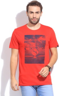 Puma Printed Men's Round Neck Red T-Shirt