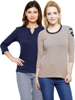 Limeberry Striped, Solid Women's Round Neck, V-neck T-Shirt Pack Of 2