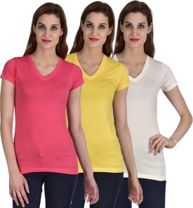 Youthen Solid Women's V-neck White, Yellow, Pink T-Shirt Pack Of 3