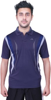 Vector X Solid Men's Polo Neck Blue, White T-Shirt