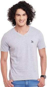 Fast N Fashion Solid Men's V-neck Grey T-Shirt