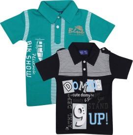 SPN Garments Printed Boy's Polo Neck Dark Blue, Green T-Shirt