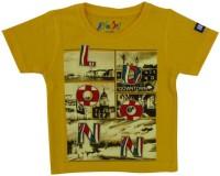 Globe Graphic Print Baby Boy's Round Neck Yellow T-Shirt - TSHEGY3C2FZFJVGF