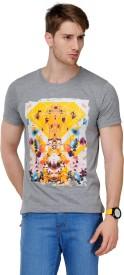 Yepme Graphic Print Men's Round Neck Grey T-Shirt
