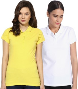 GO INDIA STORE Solid Women's Polo White, Yellow T-Shirt Pack Of 2