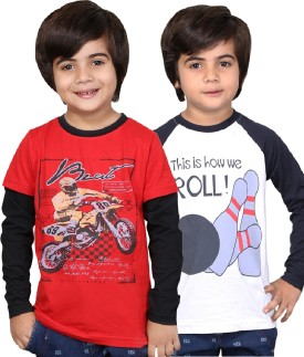 Childrens Club Printed Boy's Round Neck Red, White T-Shirt Pack Of 2