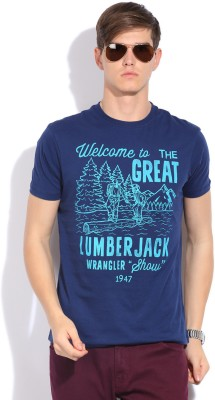 Wrangler Wrangler Printed Men's Round Neck T-Shirt (Blue)