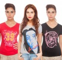 TSG Breeze Printed Women's V-neck T-Shirt - Pack Of 3 - TSHDRKJZ5QGNGJZU
