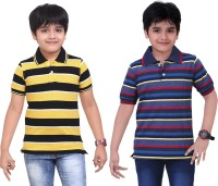 Dongli Striped Baby Boy's Polo Neck Yellow, Blue T-Shirt (Pack Of 2)