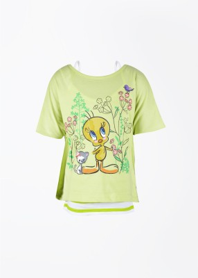 Tweety Tweety Printed Girl's Round Neck T-Shirt (Multicolor)