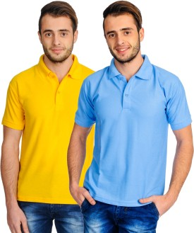 Superjoy Solid Men's Polo Neck Yellow, Light Blue T-Shirt Pack Of 2