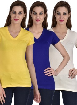 Youthen Solid Women's V-neck White, Blue, Yellow T-Shirt Pack Of 3