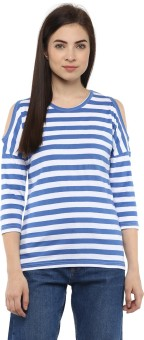 Hypernation Striped Women's Round Neck Blue, White T-Shirt - TSHEJ3VFKN835ER8