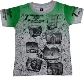 Just In Plus Grey Melange Printed Baby Boy's Round Neck T-Shirt