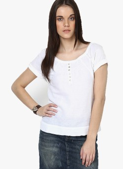 Only Solid Women's Round Neck White T-Shirt