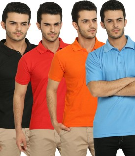 Fundoo-T Polo T-Shirt Solid Men's Polo Neck T-Shirt (Pack Of 4) - TSHE38HETTSZUHNQ