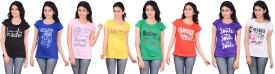 Zrestha Printed Women's Round Neck Black, Blue, Pink, Yellow, Green, Orange, Purple, White T-Shirt Pack Of 8