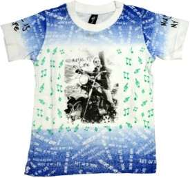 Just In Plus White Blue Print Printed Boy's Round Neck T-Shirt