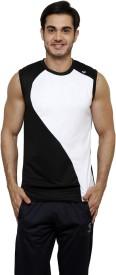 Gypsum Solid Men's Round Neck Black, White T-Shirt