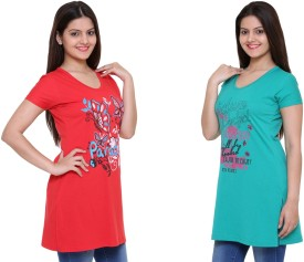 IN Love Graphic Print Women's Round Neck Red, Green T-Shirt Pack Of 2
